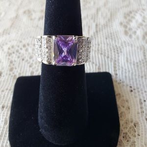 Amethyst Cocktail Ring sz6.75 Sterling Silver 925.